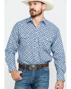 Resistol Men's Highland Geo Print Long Sleeve Western Shirt , Navy, hi-res