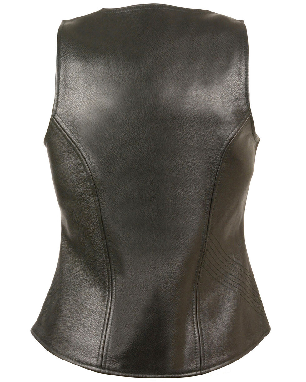 Milwaukee Leather Women's Open Neck Zipper Front Leather Vest - 3X, Black, hi-res