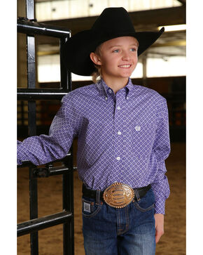Cinch Boys' Printed Plain Weave Button Long Sleeve Western Shirt , Purple, hi-res