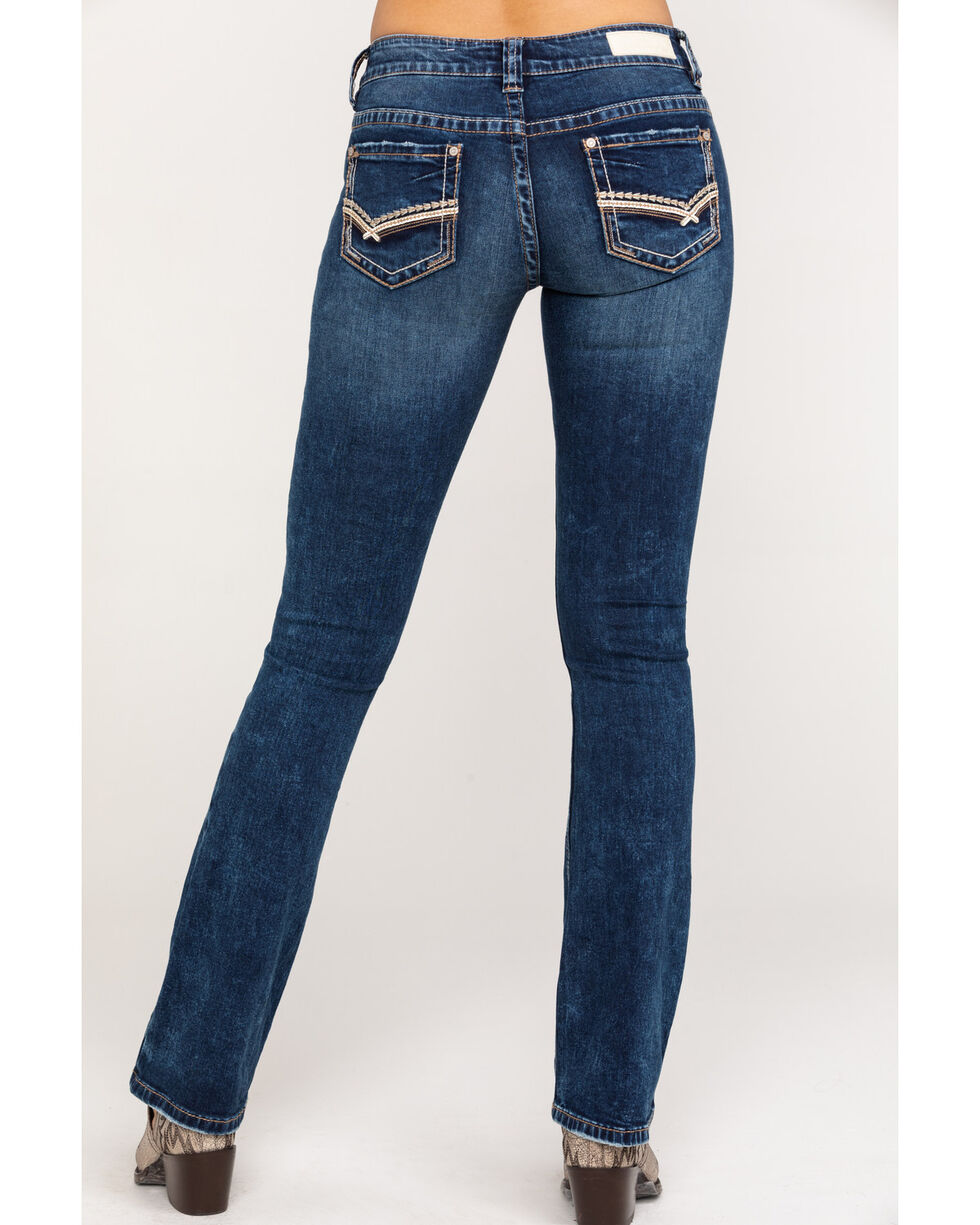 Rock and Roll Cowgirl Juniors Mid Rise Boot Cut Jeans Women Size 34 36 Dark Wash