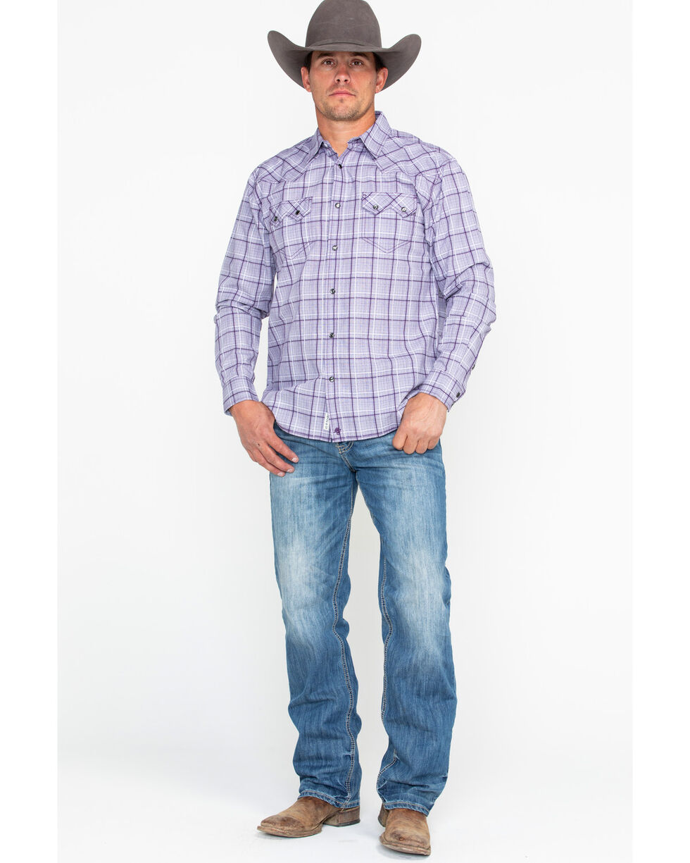 Moonshine Spirit Men's Rehearsal Plaid Long Sleeve Western Shirt, Purple, hi-res