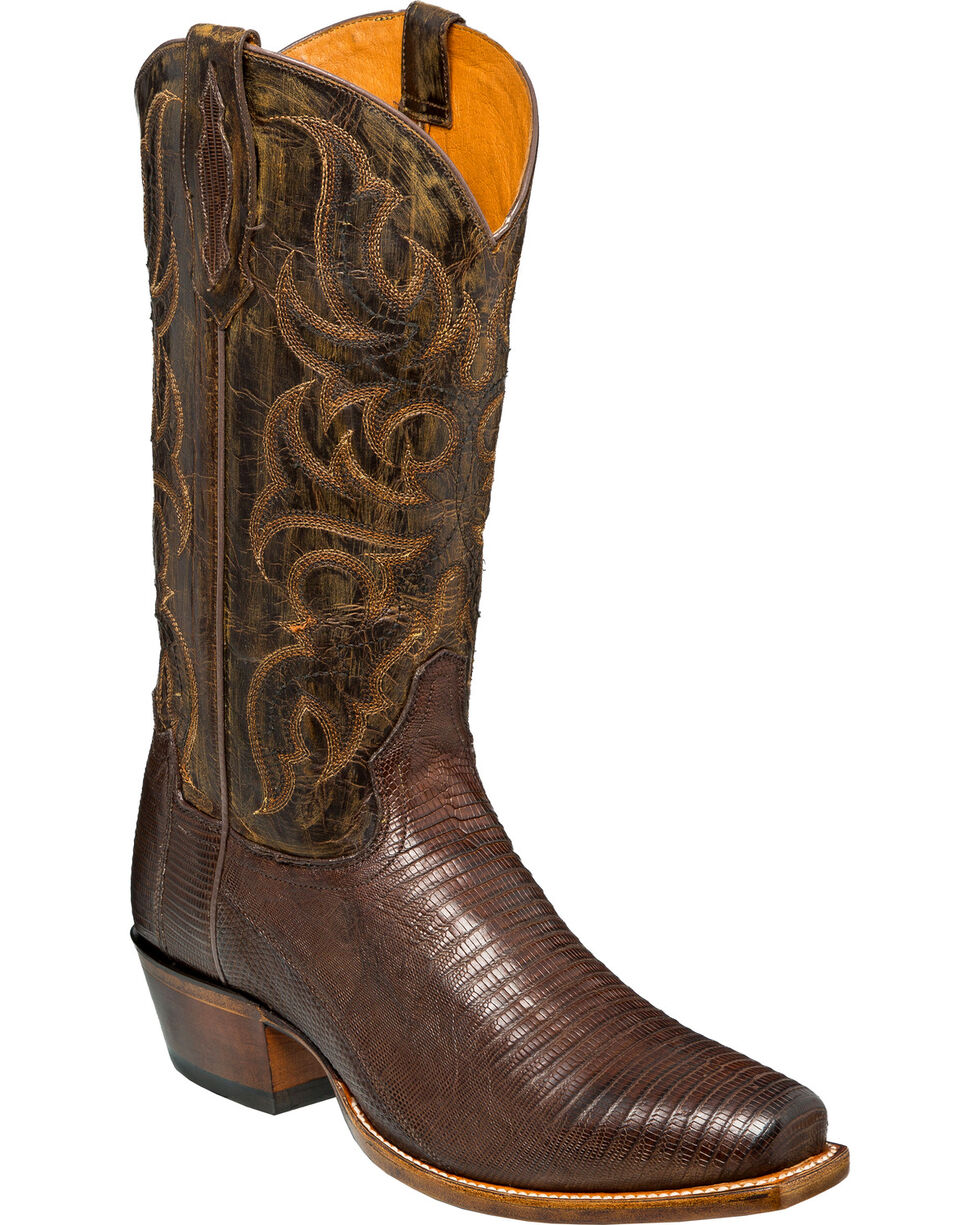 Tony Lama Men's Tobacco Teju Lizard Cowboy Boots - Snip Toe, Brown, hi-res