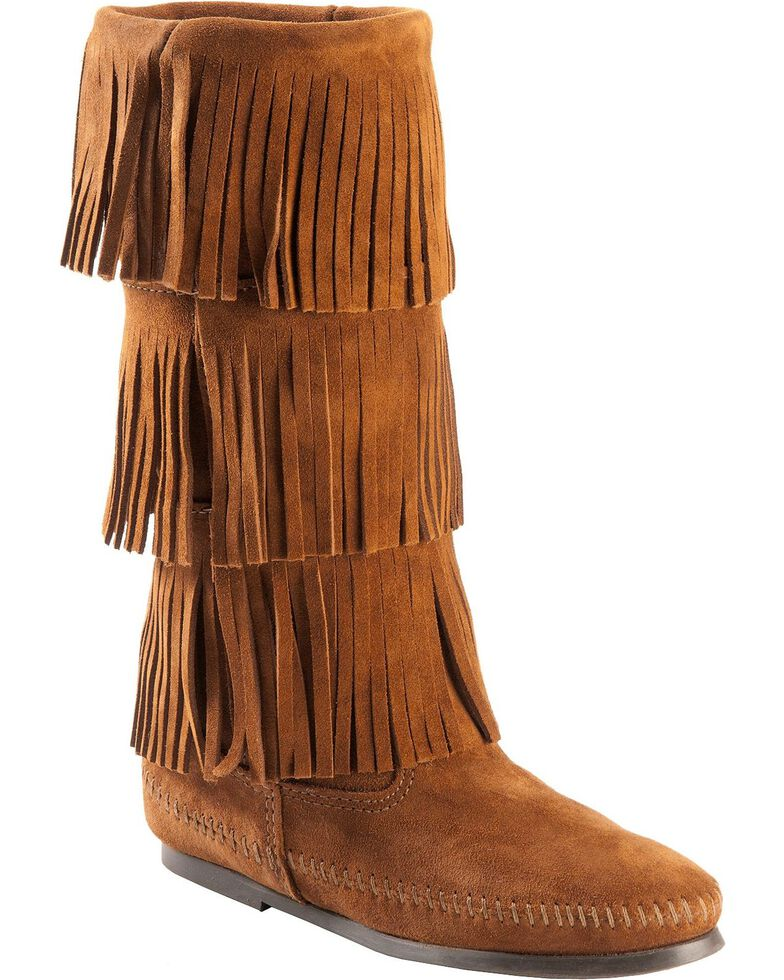Minnetonka Women's Three Layer Fringe Boots, Brown, hi-res