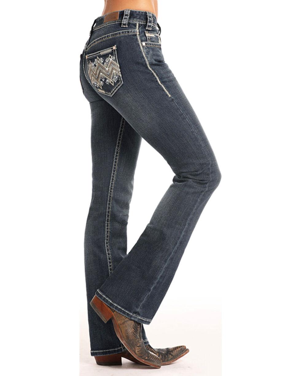 Rock & Roll Cowgirl Women's Zig Zag Leather & Rhinestone Mid Rise Jeans - Boot Cut, Indigo, hi-res