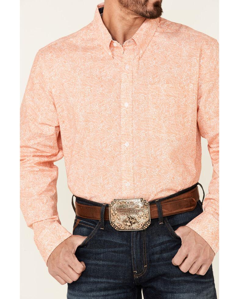 Cody James Core Men's Vaquero Paisley Print Long Sleeve Button-Down Western Shirt , Orange, hi-res