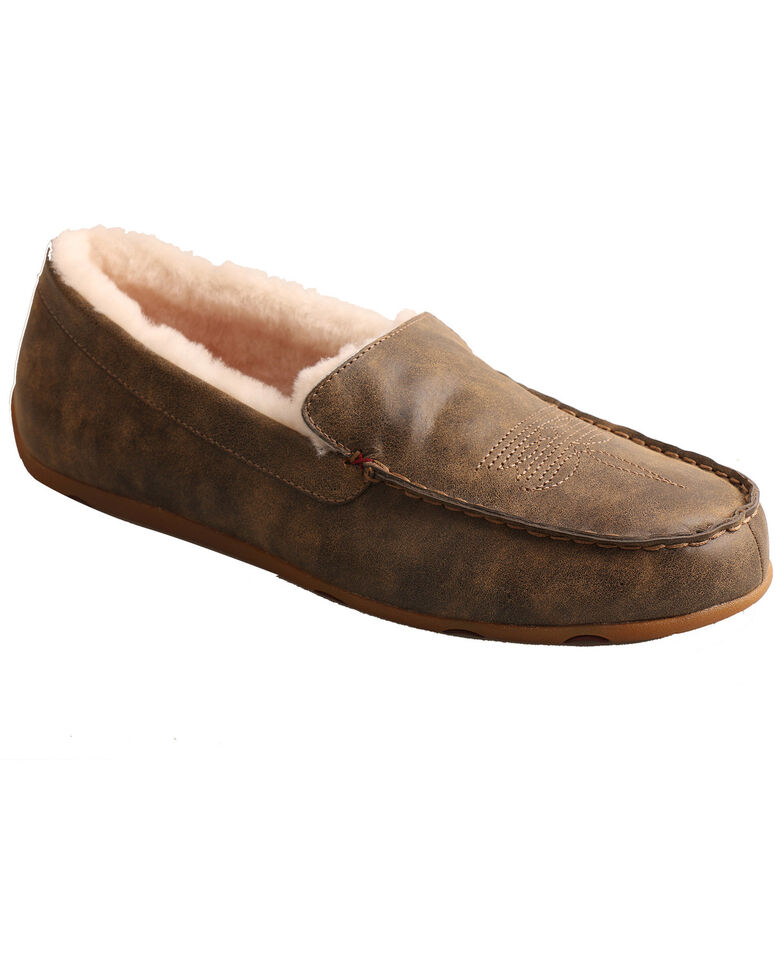 Twisted X Men's Bomber Slip-On Mocassin Shoes - Moc Toe, Brown, hi-res
