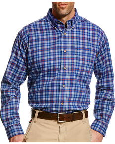 Ariat Men's Collins Blue FR Plaid Button Work Shirt - Big & Tall, Blue, hi-res