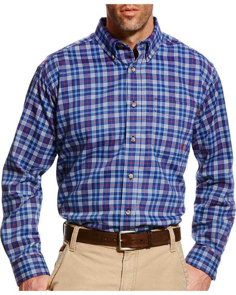 Ariat Men's Collins Blue FR Plaid Button Work Shirt - Big & Tall, Blue, hi-res