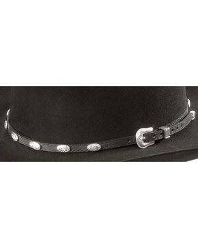 Concho Embellished Leather Hat Band, Black, hi-res
