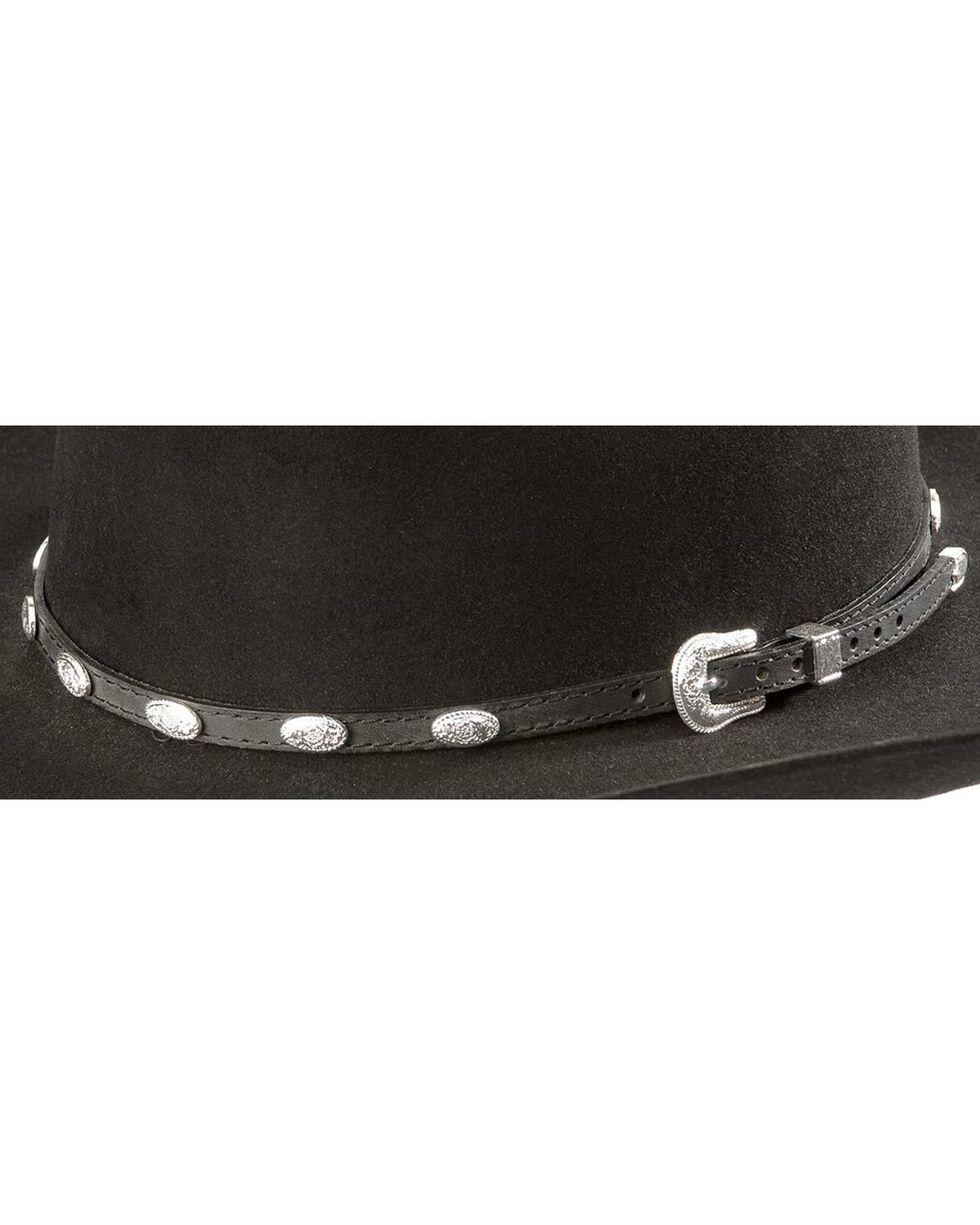 Concho Embellished Leather Hat Band, Black, hi-res
