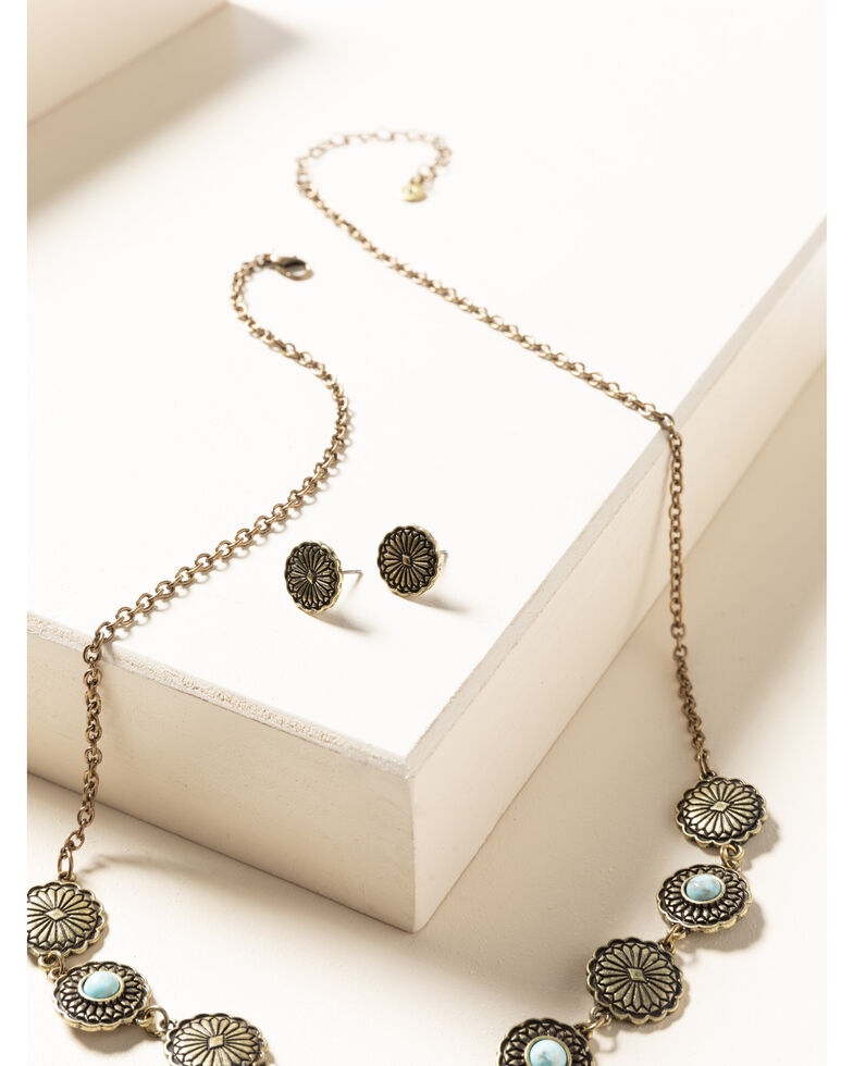 Shyanne Women's Gilded Gold Turquoise Stone Coin Necklace Set, Gold, hi-res