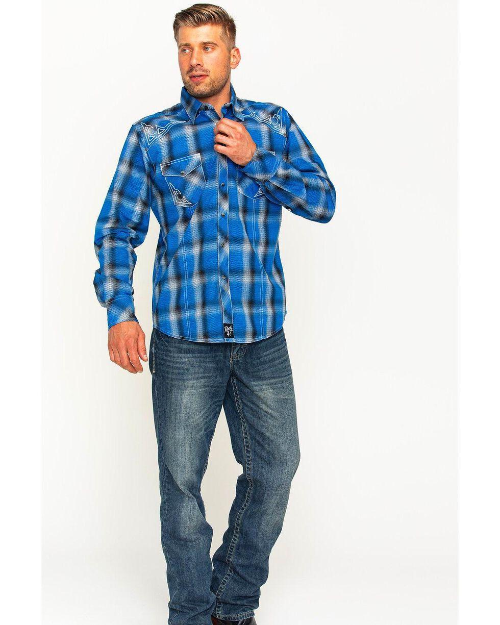 Rock 47 by Wrangler Men's Plaid Two Pocket Snap Shirt, , hi-res
