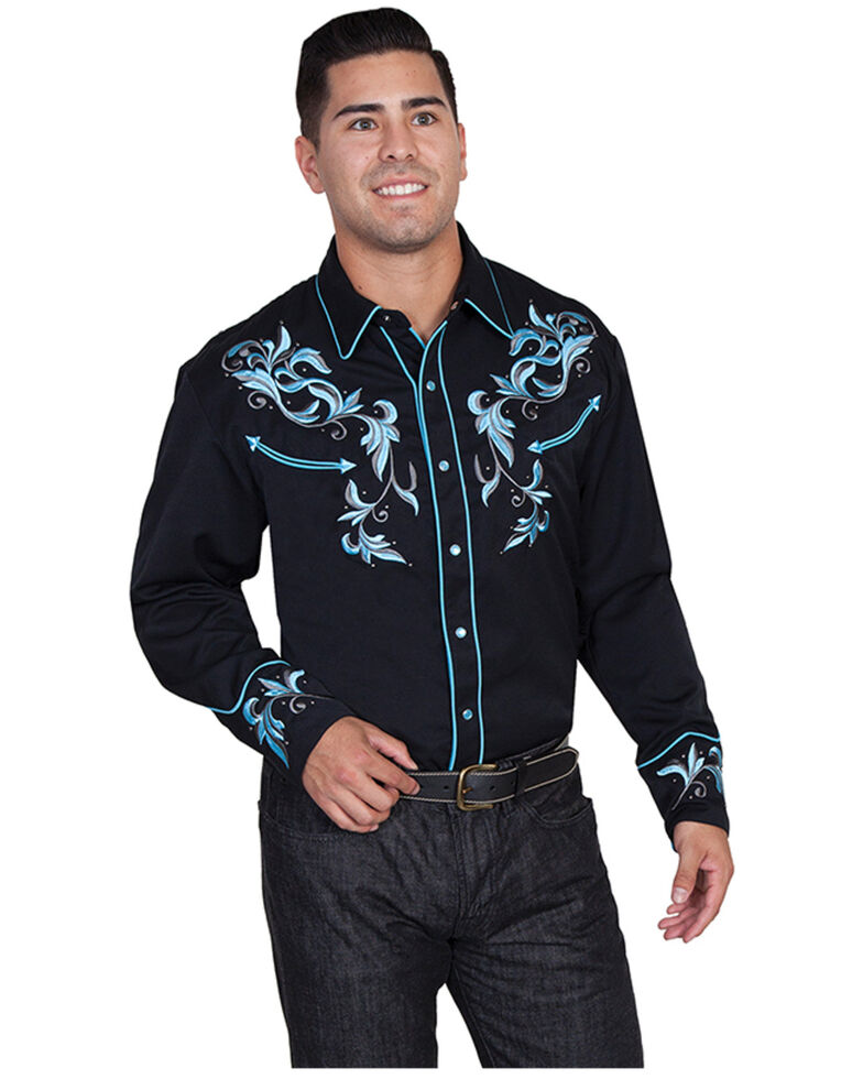 Scully Men's Turquoise Embroidered Studded Long Sleeve Western Shirt - Big & Tall, Black, hi-res
