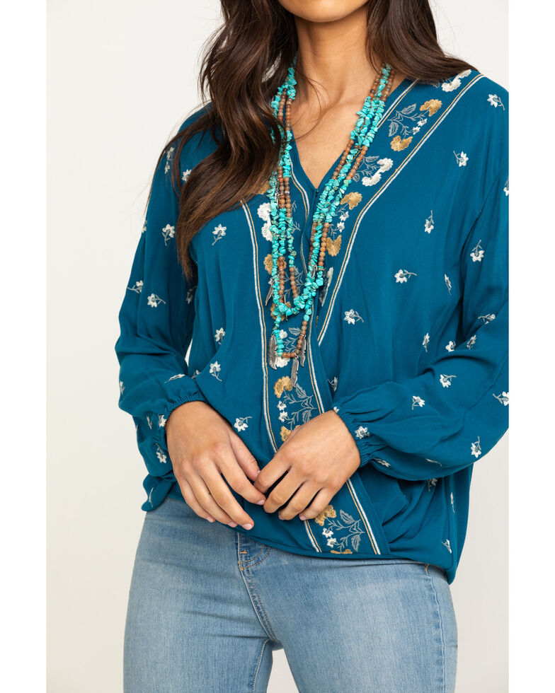 Fae & Francine Women's Rust Embroidered Floral Surplice Top, Navy, hi-res