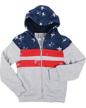 Cody James® Boys' Distressed American Flag Jacket, Grey, hi-res