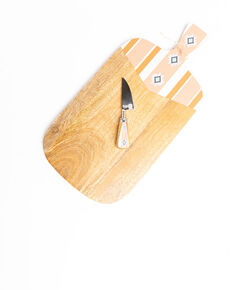 Boot Barn Ranch Aztec Wood Paddle Cheese Board Set, Pink, hi-res