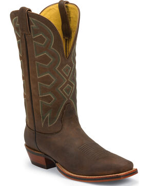 Nocona Men's Let's Rodeo Square Toe Western Boots, Brown, hi-res