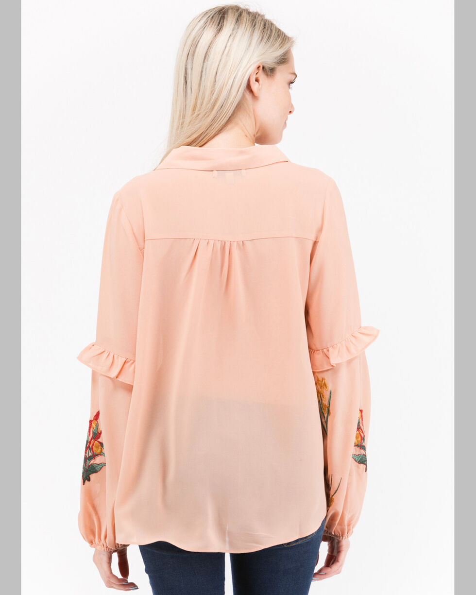 Polagram Women's Floral Embroidered Chambray Shirt, Peach, hi-res