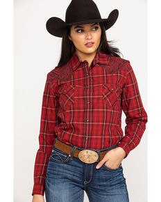 Rough Stock by Panhandle Women's Protrero Vintage Ombre Plaid Long Sleeve Western Shirt, Red, hi-res