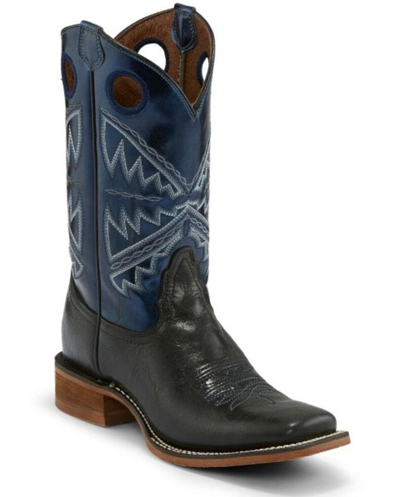 Nocona Women's Naida Metallic Blue Western Boots - Wide Square Toe, Black, hi-res