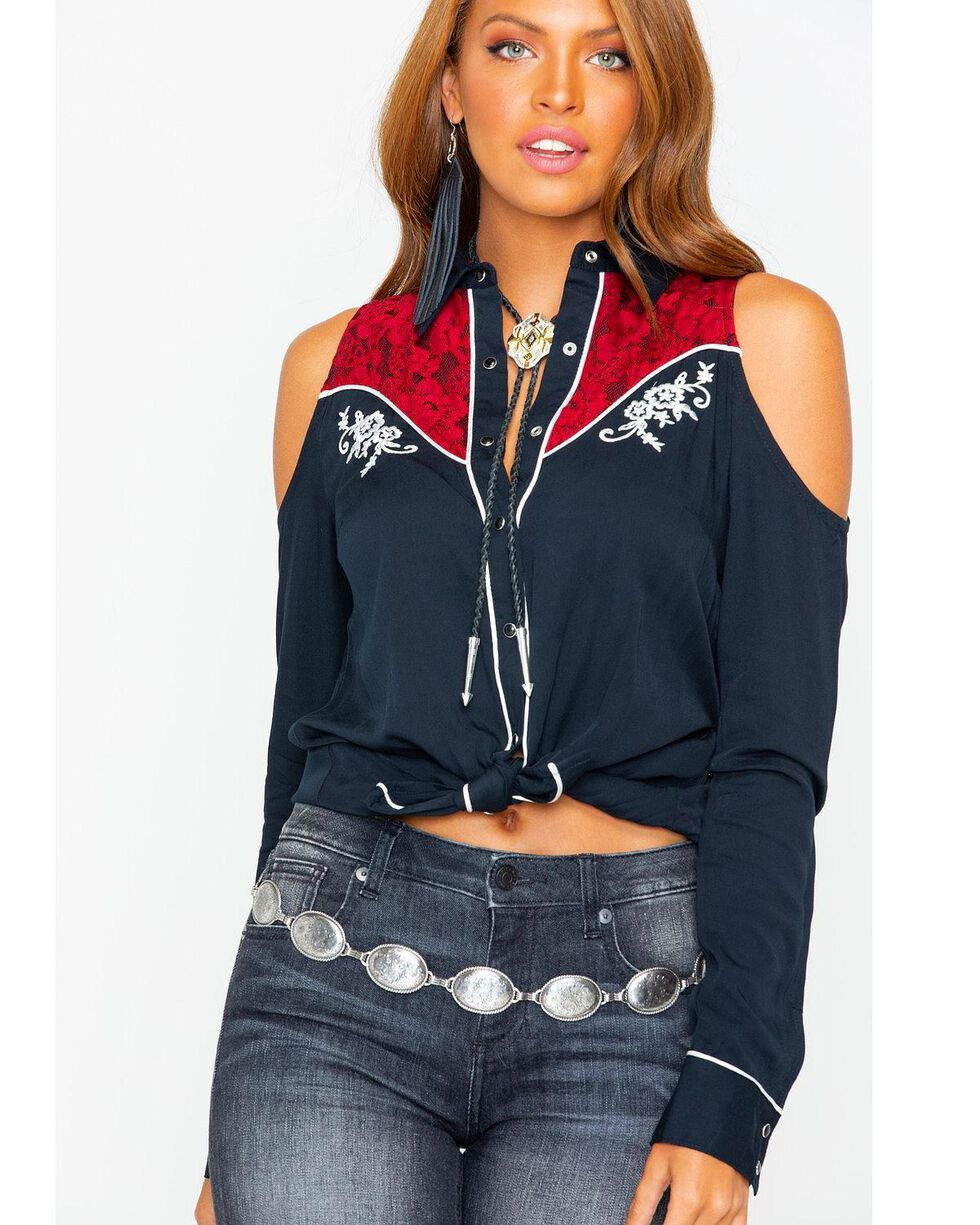 Shyanne Women's Cold Shoulder Lace Up Rodeo Shirt , Black, hi-res