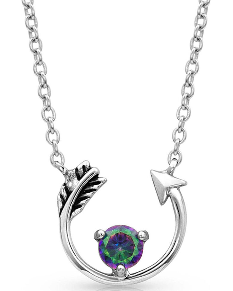 Montana Silversmiths Women's Northern Lights Lucky Arrow Necklace, Silver, hi-res