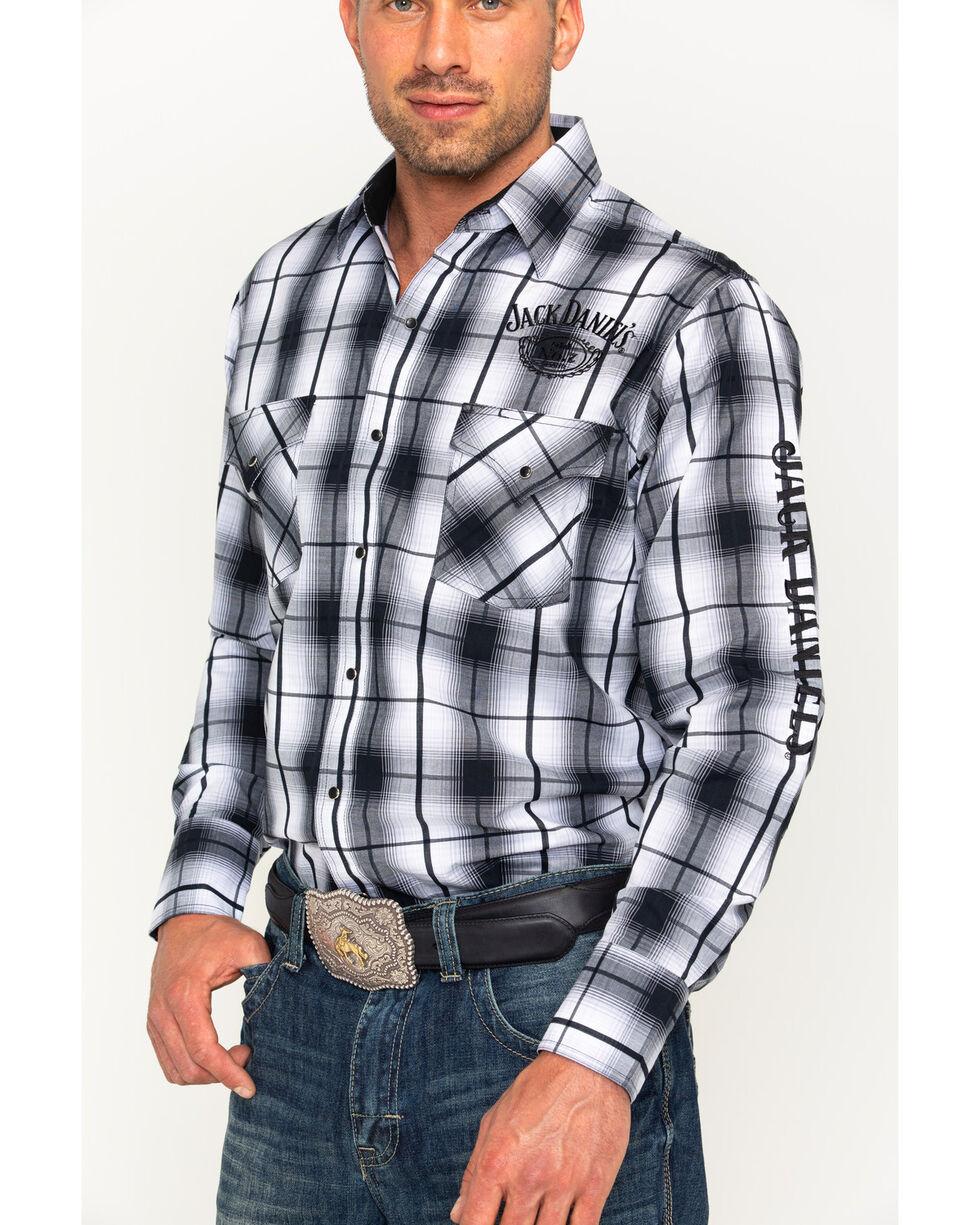 Ely Cattleman Men's Jack Daniel's Plaid Shirt , Black, hi-res