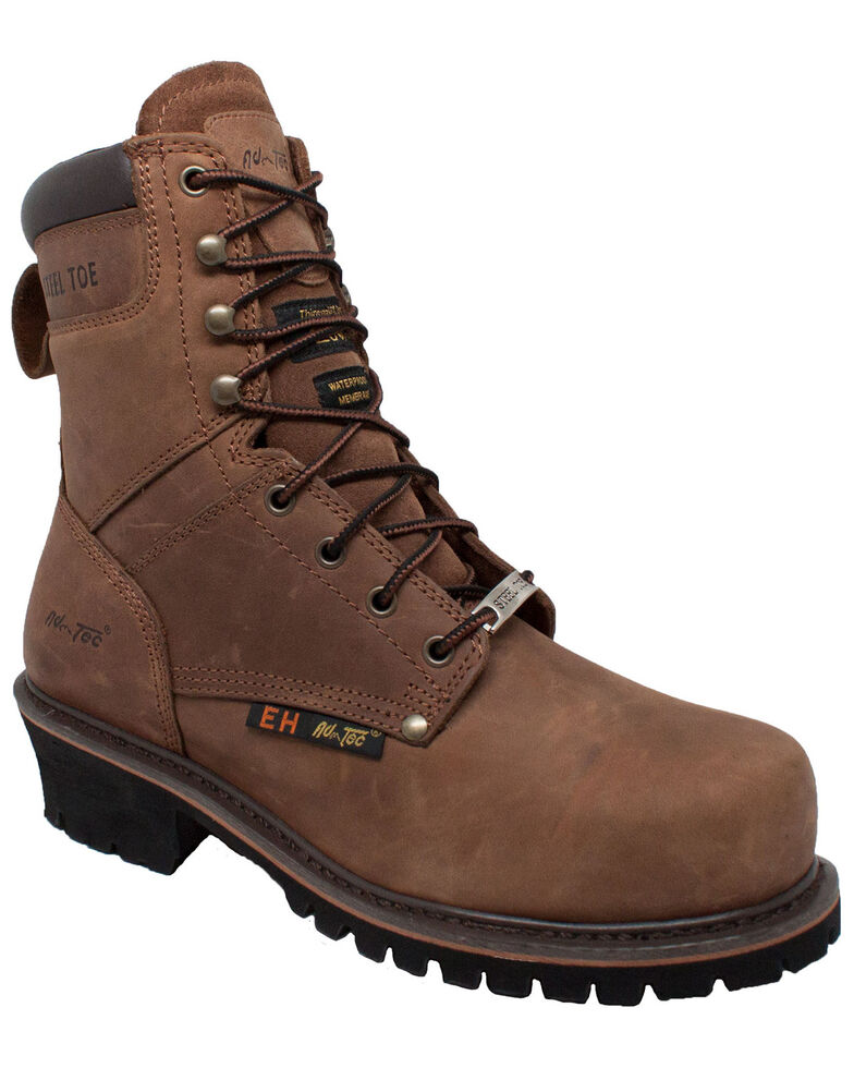 "Ad Tec Men's 9"" Logger Boots - Steel Toe, Black, hi-res"