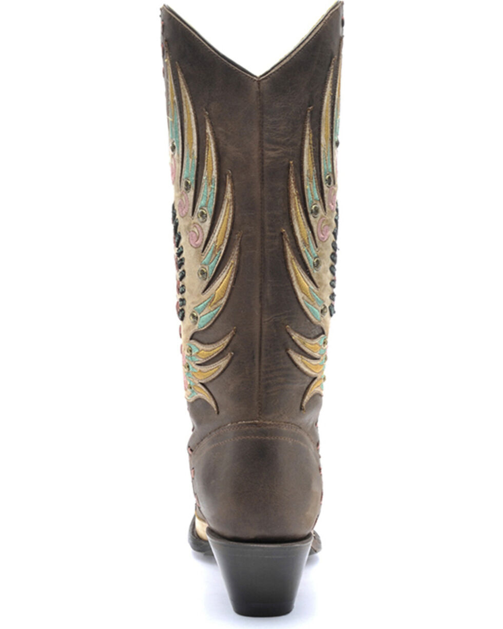 Corral Women's Multi-Colored Swan Overlay Western Boots, Brown, hi-res