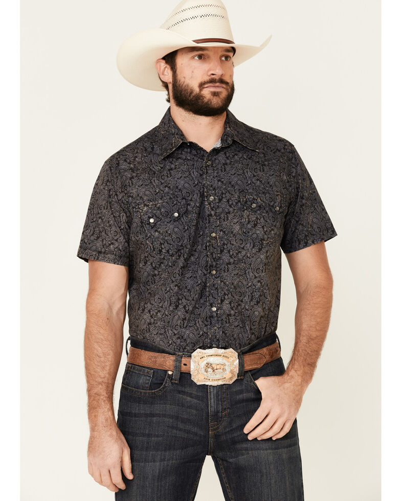 Panhandle Men's Black Paisley Print Short Sleeve Western Shirt , Black, hi-res