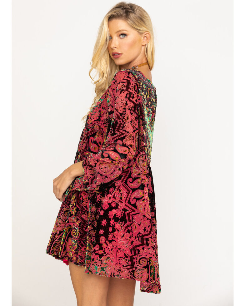 Free People Women's Mirror Mirror Velvet Jacquard Babydoll Dress, Wine, hi-res