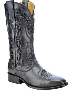 Corral Men's Laser Cut Whip-Stitch Western Boots, Black, hi-res