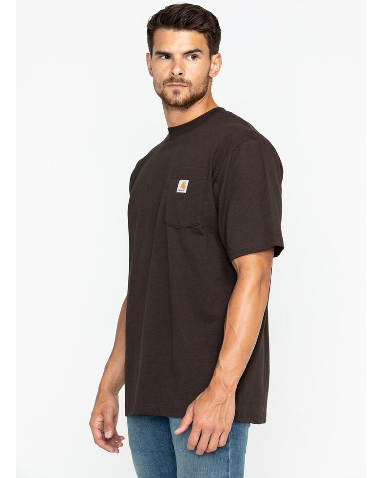 Carhartt Men's Solid Pocket Short Sleeve Work T-Shirt, Dark Brown, hi-res
