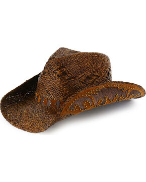 Shyanne® Women's Embellished Brim Straw Hat, Brown, hi-res