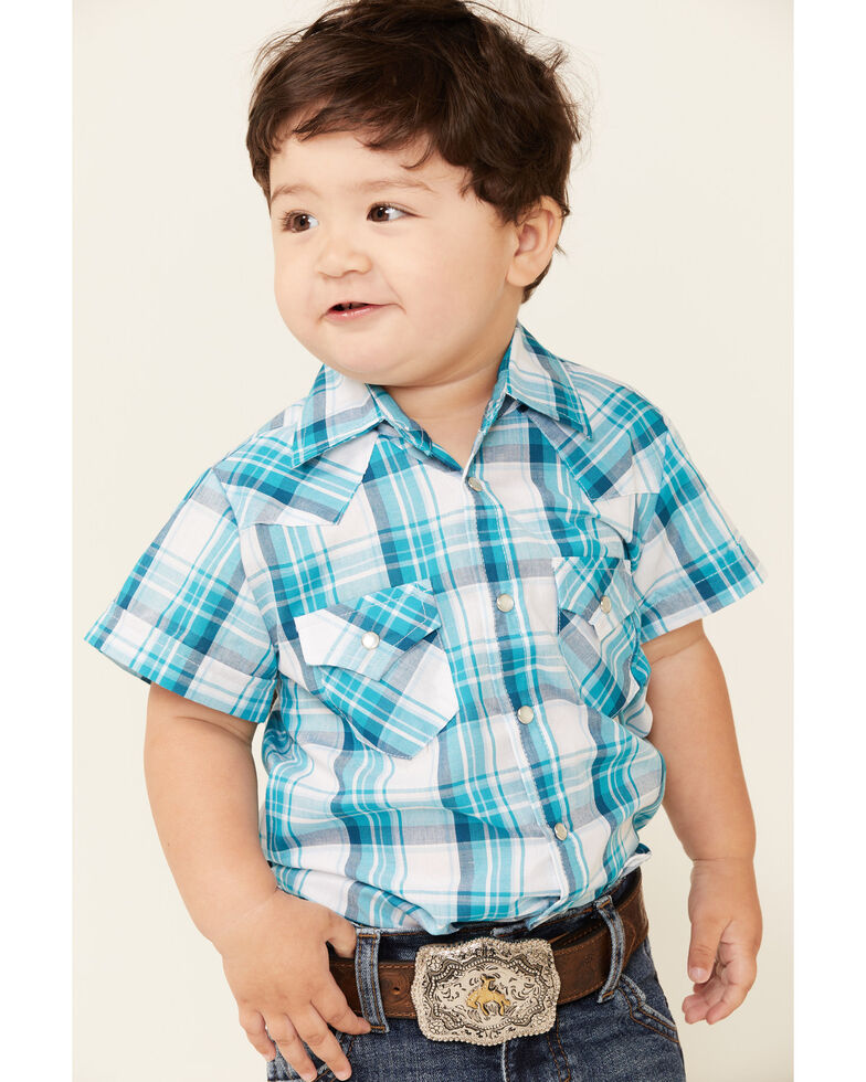 Ely Cattleman Toddler Boys' Assorted Plaid Snap Short Sleeve Western Shirt , Turquoise, hi-res