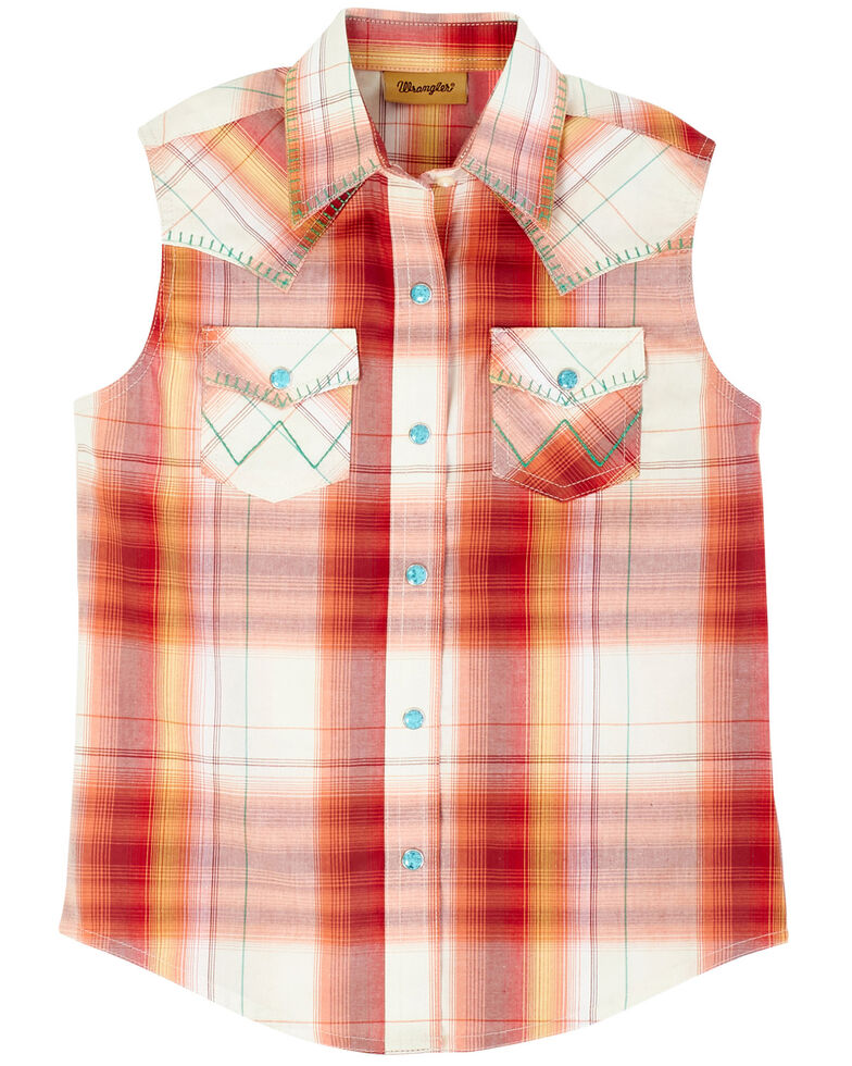 Wrangler Girls' Red & Orange Plaid Snap Sleeveless Western Shirt, Red, hi-res