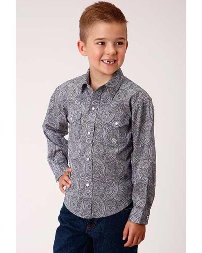 Amarillo Boys' Wildwood Quarry Paisley Print Long Sleeve Snap Western Shirt , Purple, hi-res