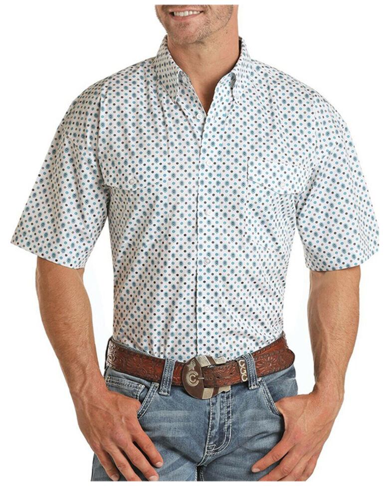 Panhandle Select Men's White Floral Geo Print Short Sleeve Western Shirt , Blue, hi-res