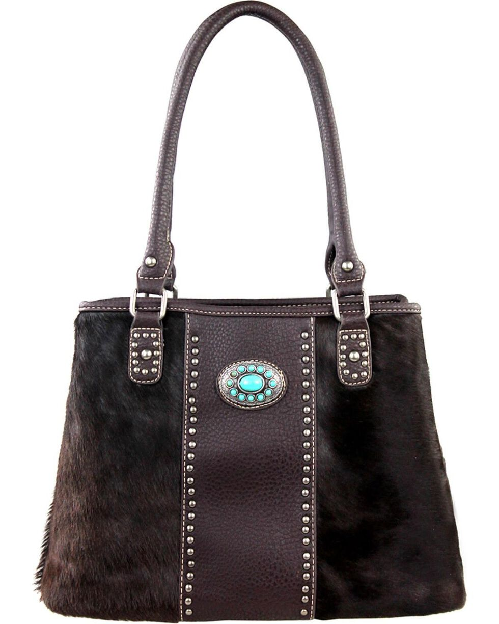 Montana West Trinity Ranch Hair-On Leather Collection Handbag, Coffee, hi-res
