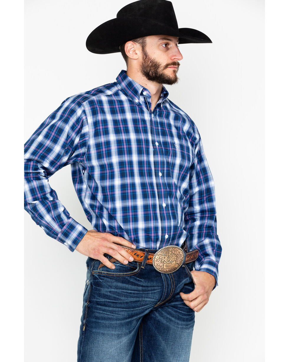 Ariat Men's Achman Plaid Long Sleeve Western Shirt - Big, Blue, hi-res