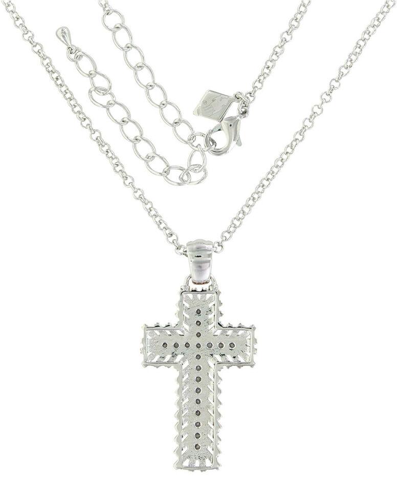 Montana Silversmiths Women's Rose Gold Buck Stitch Cross Necklace, Silver, hi-res