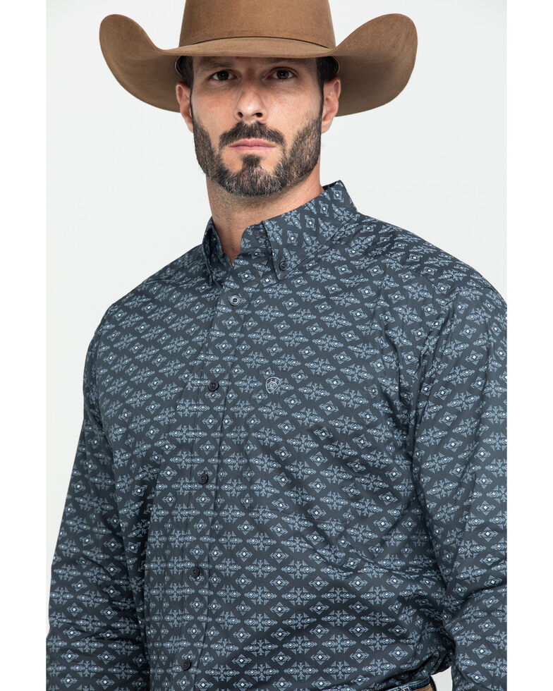 Ariat Men's Flossmoor Stretch Aztec Geo Print Long Sleeve Western Shirt - Tall , Brown, hi-res