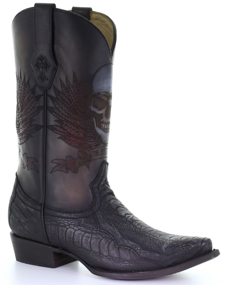 Corral Men's Ostrich Leg Western Boots - Snip Toe, Black, hi-res