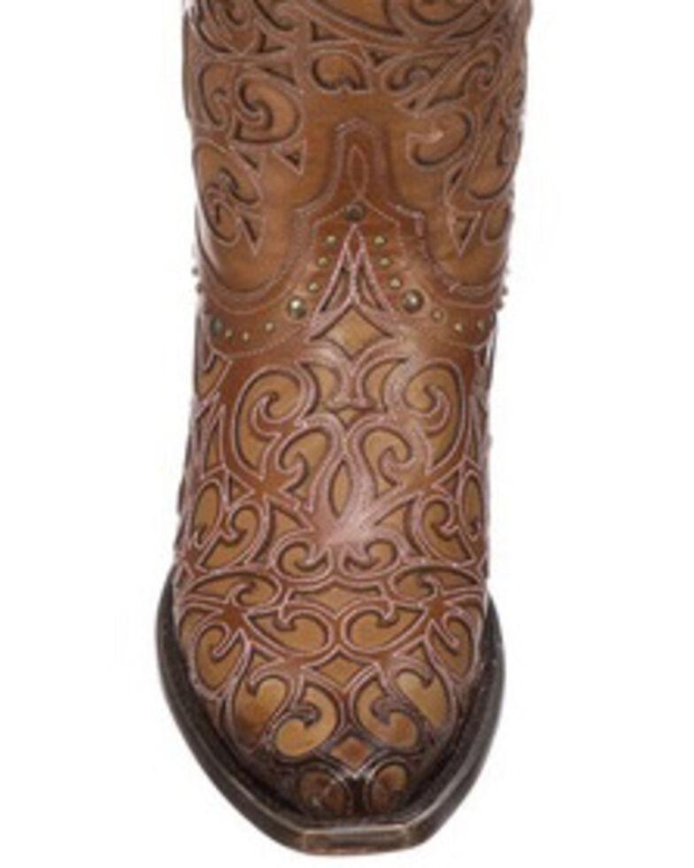 Lucchese Women's Sierra Laser-Cut Overlay Western Boots, Tan, hi-res