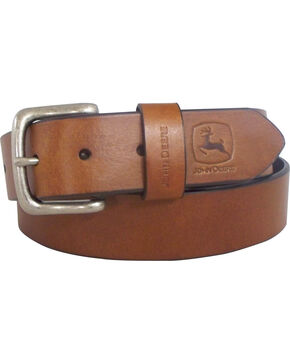 John Deere Men's Oil Tan Bridle Leather Belt, Brown, hi-res
