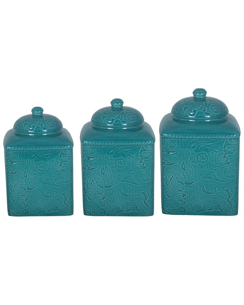 HiEnd Accents Savannah 3-Piece Canister Set, Turquoise, hi-res