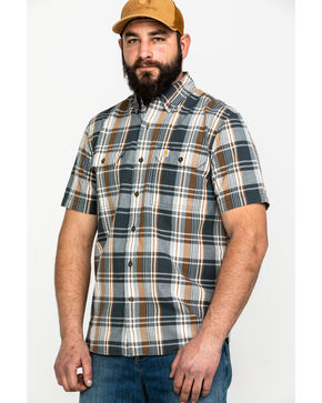 Carhartt Men's Fort Plaid Long-Sleeve Work Shirt - Tall , Dark Grey, hi-res