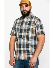 Carhartt Men's Fort Plaid Long-Sleeve Work Shirt , Grey, hi-res