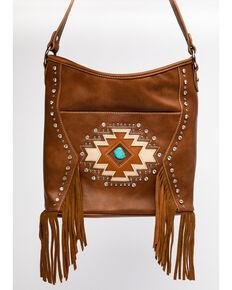 Montana West Women's Brown Aztec Turquoise Stone Handbag, Brown, hi-res