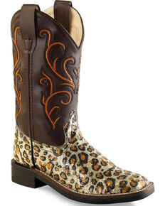 Old West Girls' Leopard Print Western Boots - Square Toe, Leopard, hi-res